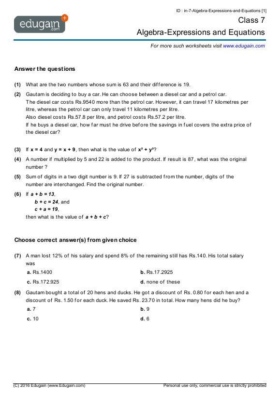 Grade 7 Math Worksheets And Problems  Algebra