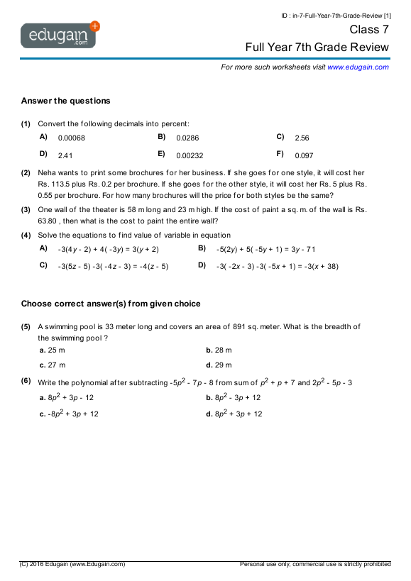 Grade 7 Math Worksheets And Problems  Full Year 7th Grade Review