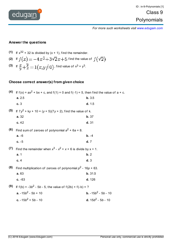Grade 9 Math Worksheets And Problems  Polynomials
