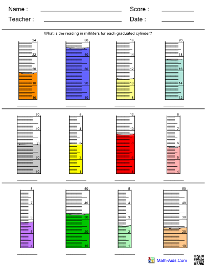 Graduated Cylinder Worksheet