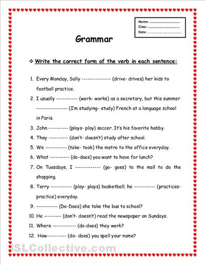 Grammar Printable Worksheets Free Worksheets Library