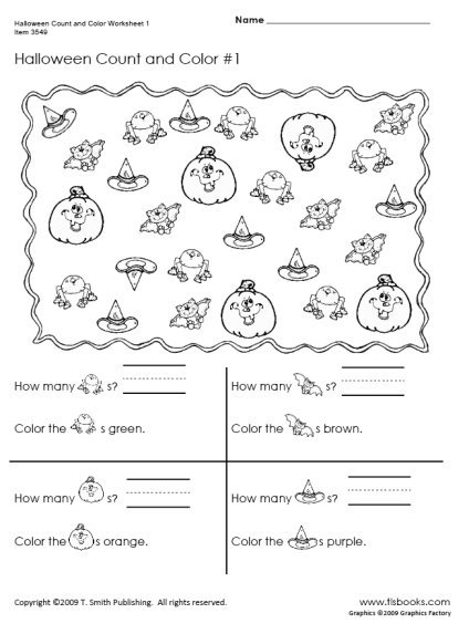 Halloween Count And Color Worksheets 1
