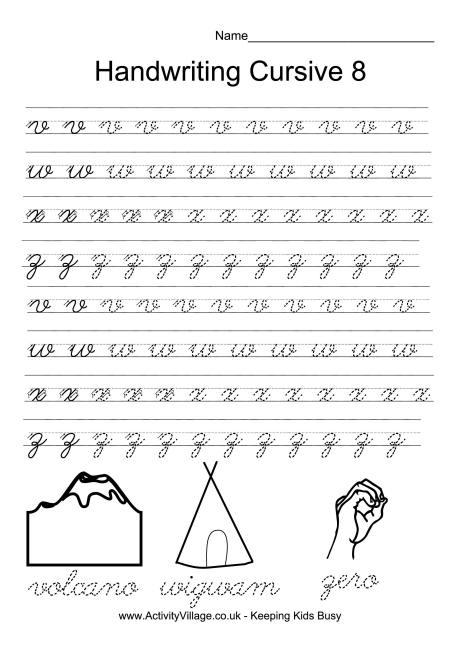 Handwriting Practice Cursive 8