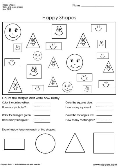 Happy Shapes Worksheet