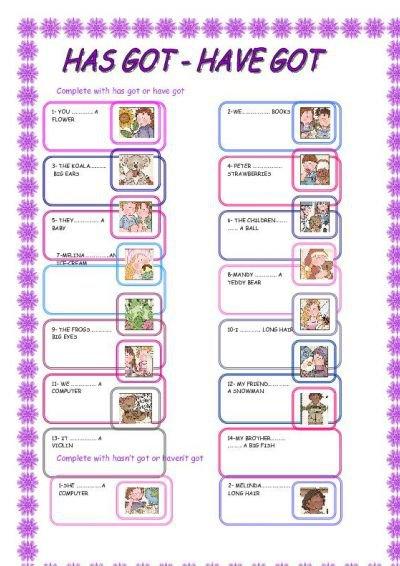 Have Has Got Worksheets For Children