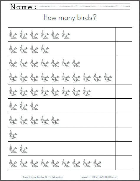 How Many Birds  Free Printable 1