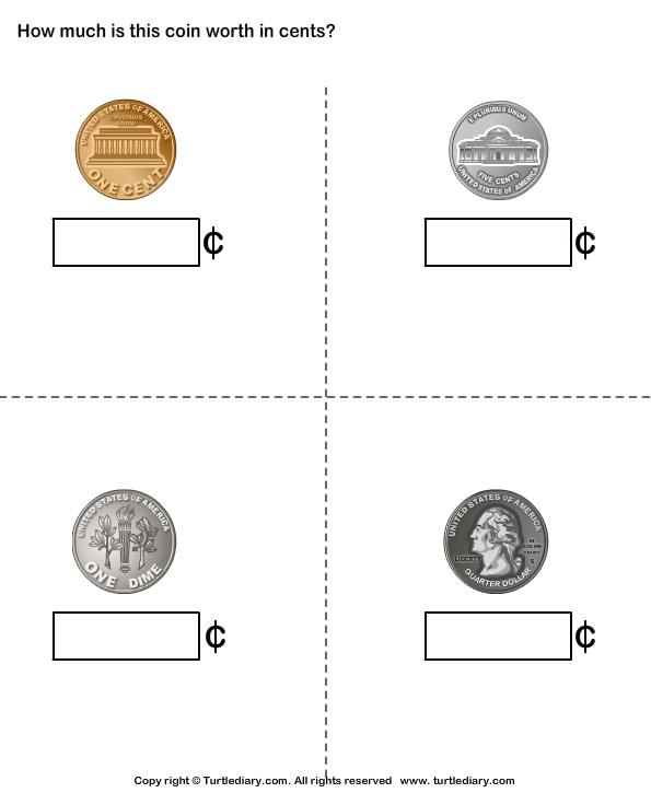 Identify Penny Nickel Dime Quarter Worksheet