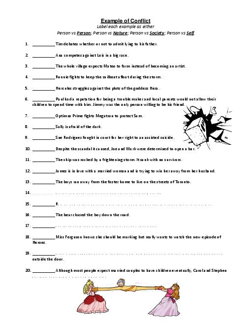 Identifying Conflict Worksheet Free Worksheets Library