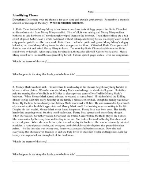 Identifying Theme Worksheets For 5th Grade