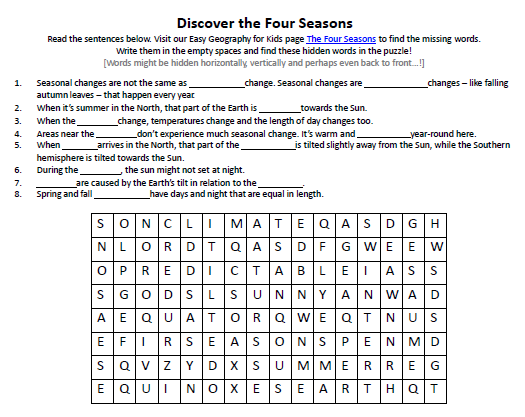 Image Of Four Seasons Worksheet