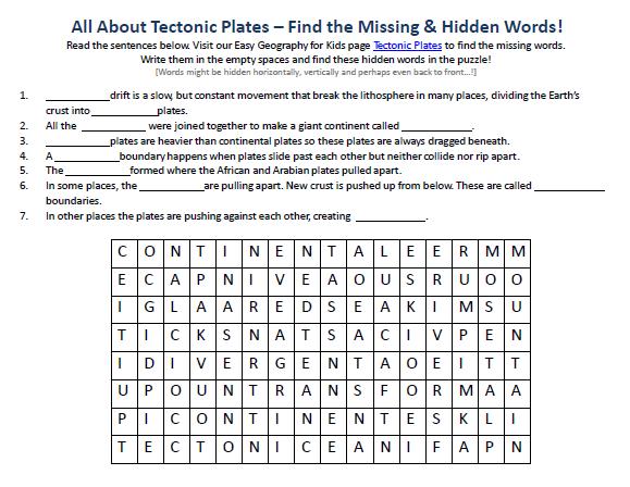 Image Of Tectonic Plates Worksheet