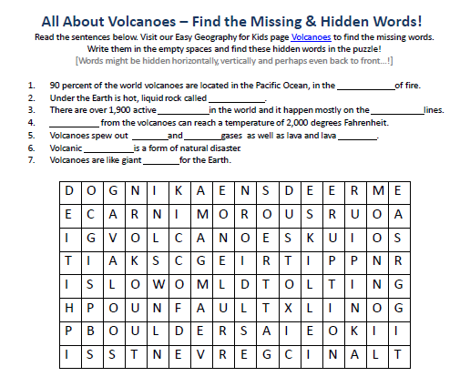 Image Of Volcanoes Worksheet