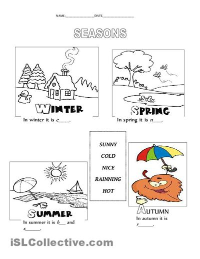 Image Result For Coloring Seasons For Preschoolers