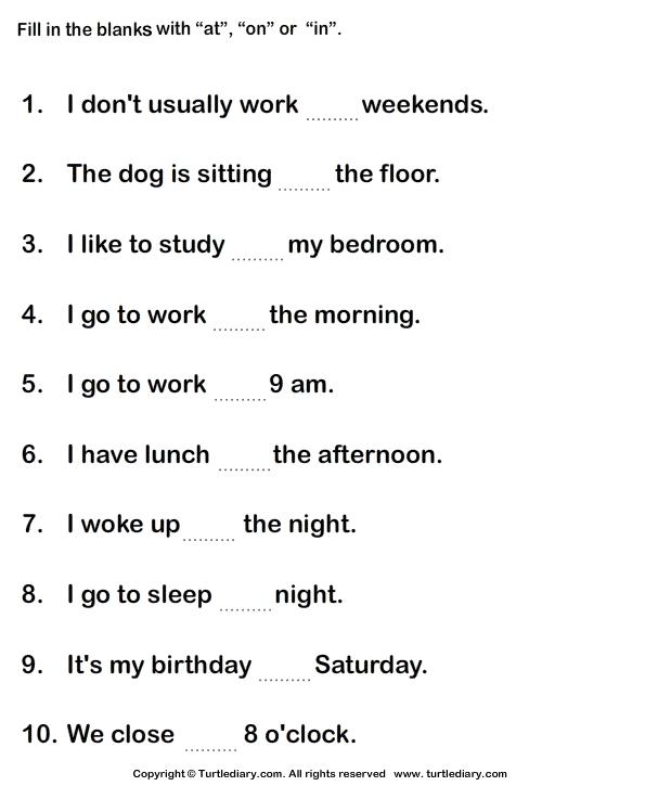 Image Result For Worksheet Of Preposition For Grade 3