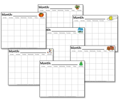 Kindergarten Calendar Worksheets