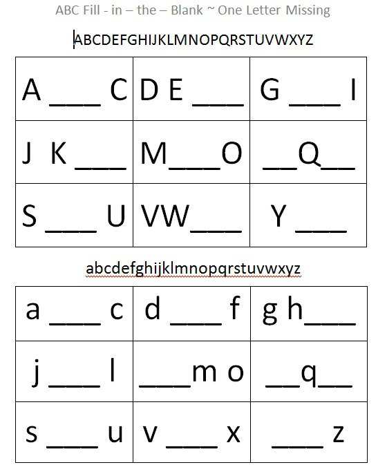 Kindergarten Fill In The Blank Worksheets