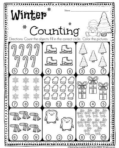 Kindergarten Math And Literacy Worksheets For December