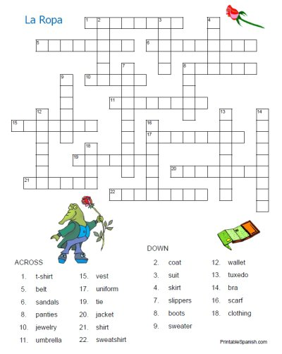La Ropa Crossword 1 – Printable Spanish