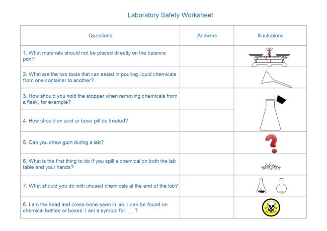 Laboratory Safety Worksheet