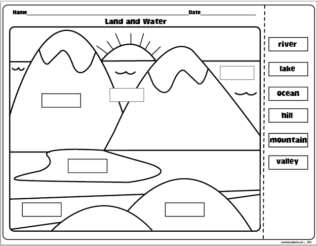 Land And Water Forms Worksheet Worksheets