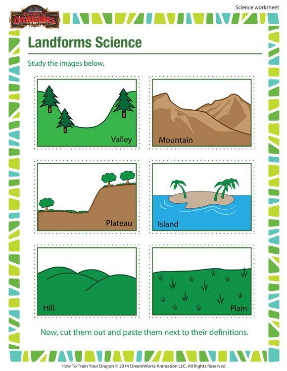 Landforms Science – 3rd Grade Science Worksheet – School Of Dragons