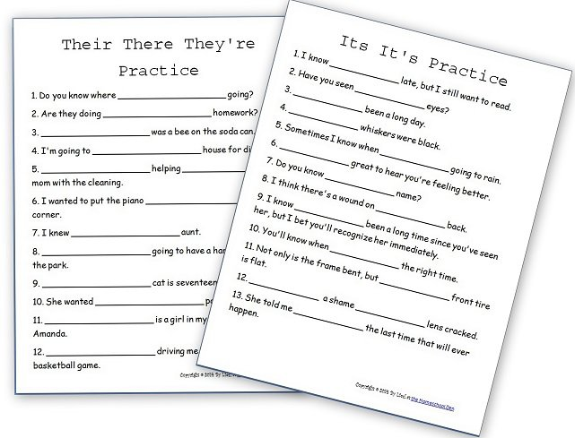 Language Arts – Grammar Worksheets