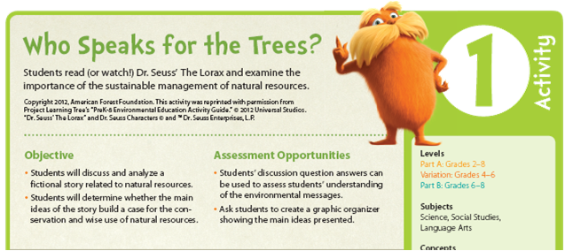 Lesson Plans To Support Dr  Seuss' The Lorax
