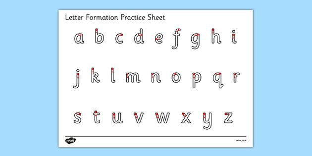 Letter Formation Alphabet Handwriting Practice Sheet (lowercase