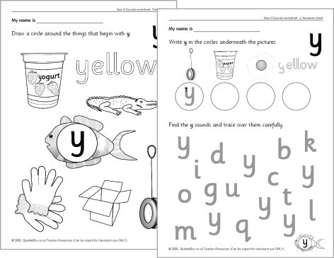 Letter 'y' Worksheets (sb528)