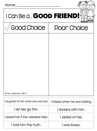 Making Good Choices Worksheets