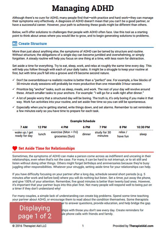 Managing Adhd (worksheet)