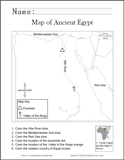 Map Of Ancient Egypt Worksheet For Kids, Grades 1