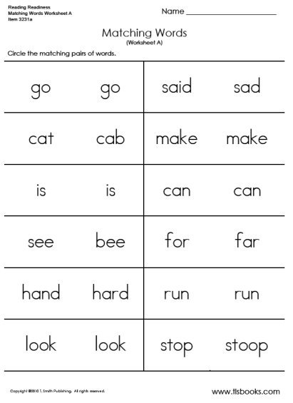 Matching Words Worksheet A And B