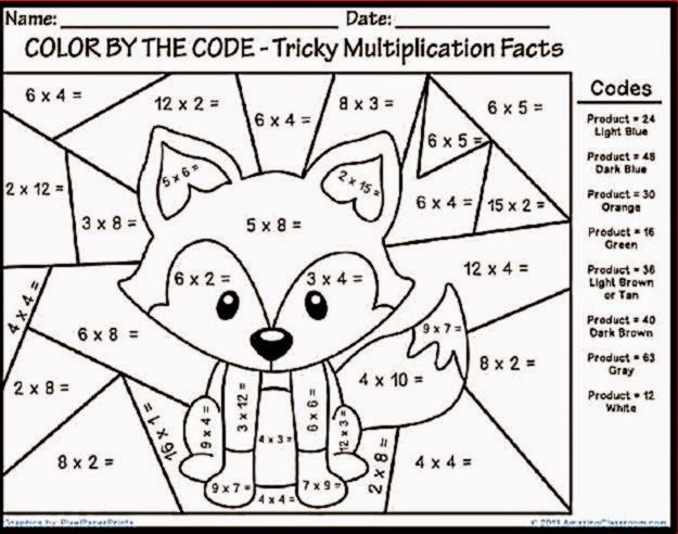 Math Coloring Pages Multiplication Free