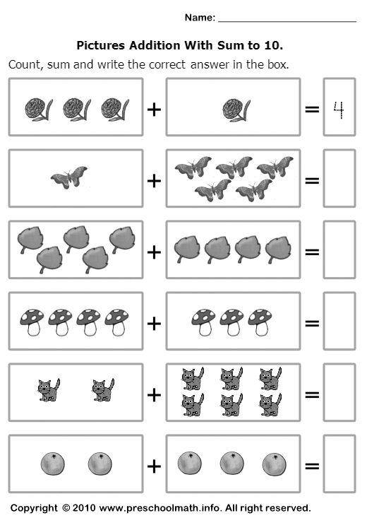 Math Worksheets For Kindergarten Addition Free Worksheets Library