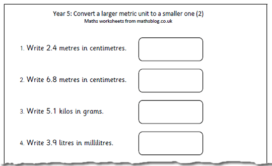 Maths Worksheet  Converting Metric Units (2)
