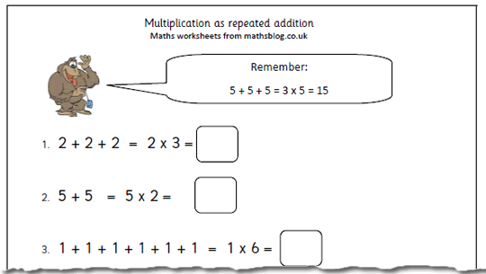 Maths Worksheet  Multiplication As Repeated Addition