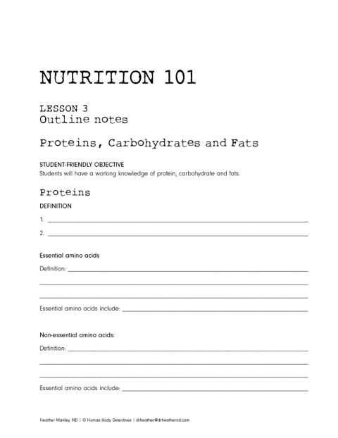 Middle & High School Nutrition 101