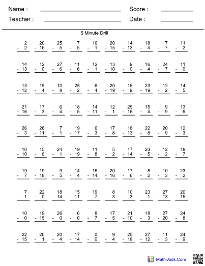 Minute Subtraction Drill Worksheet