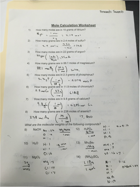 Moles Calculations Worksheet Free Worksheets Library