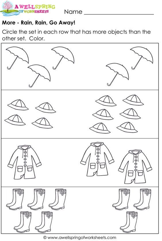 More Or Less Worksheets For Kindergarten Free Worksheets Library