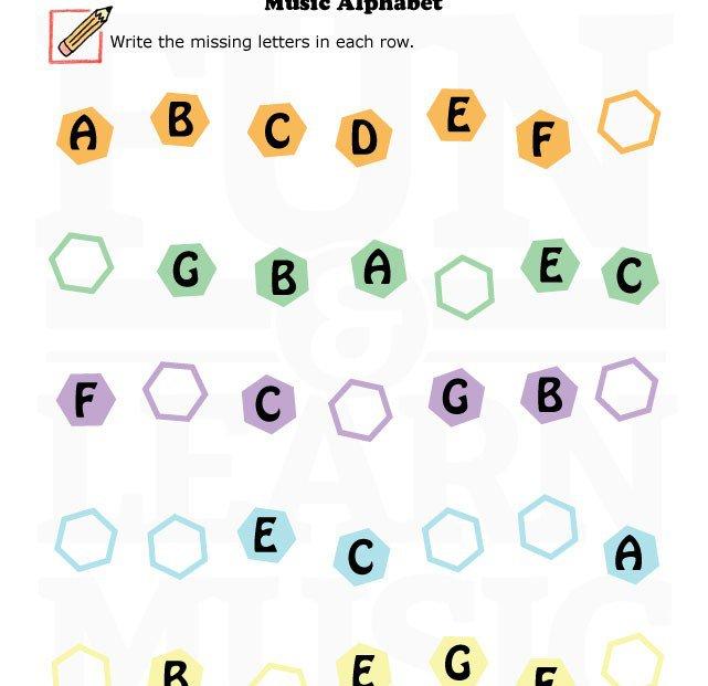 Music Alphabet Worksheets Worksheets
