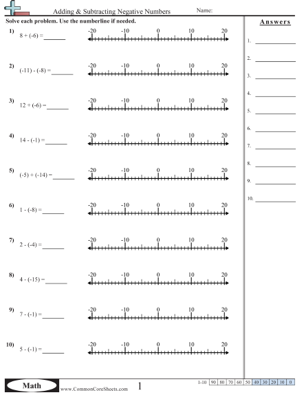 Negative Number Worksheets