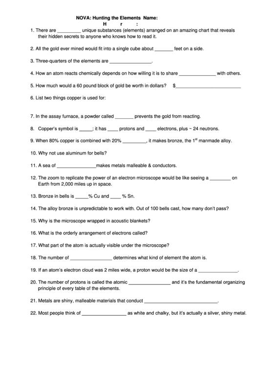Nova  Hunting The Elements Chemistry Worksheet Template Printable