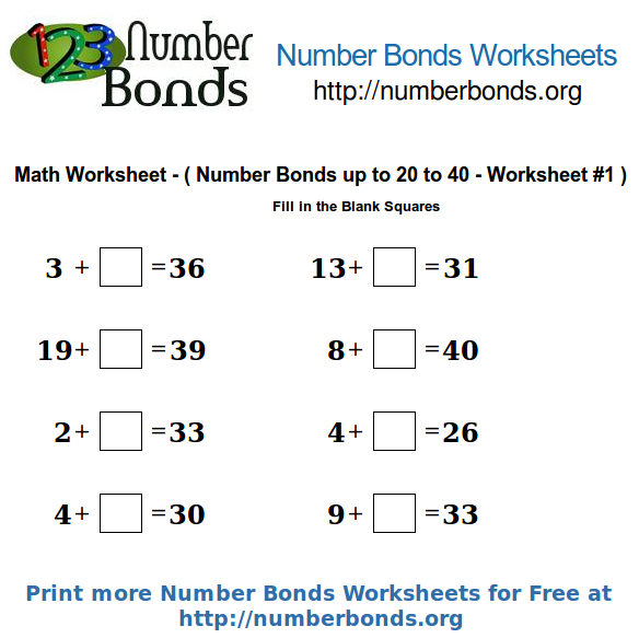 Number Bonds Math Worksheet From 20 To 40 Worksheet  1