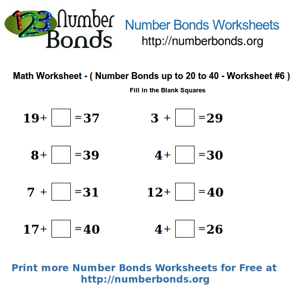 Number Bonds Math Worksheet From 20 To 40 Worksheet  6