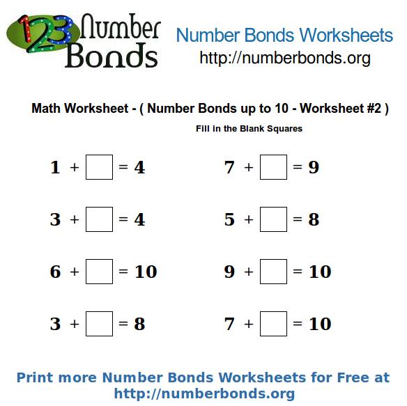Number Bonds Math Worksheet Up To 10 Worksheet  2