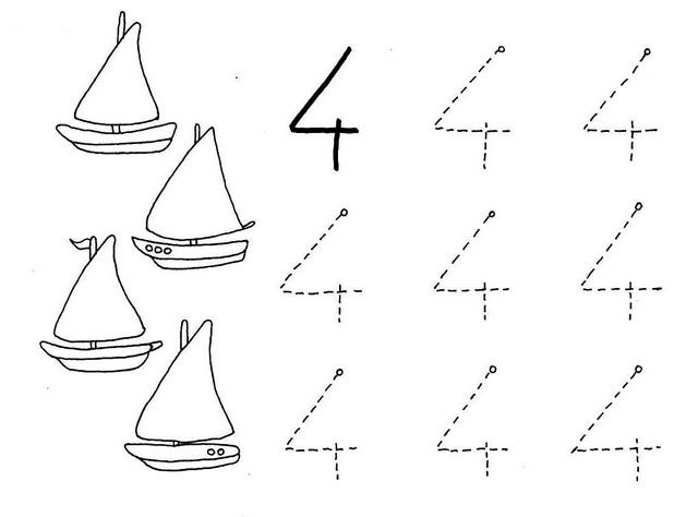 Number Four 4 Coloring And Tracing Worksheets (4)