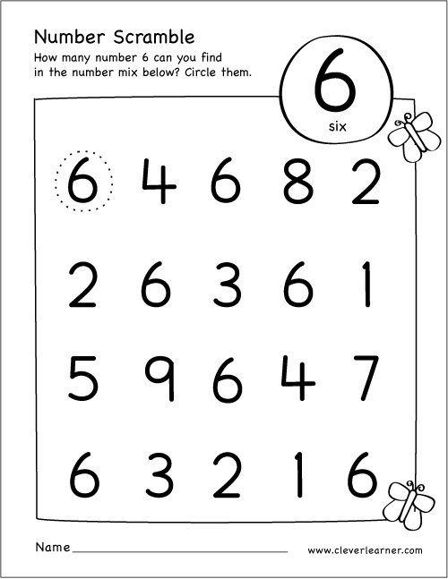 Number Scramble Activity Worksheet For Number 6 For Preschool Children