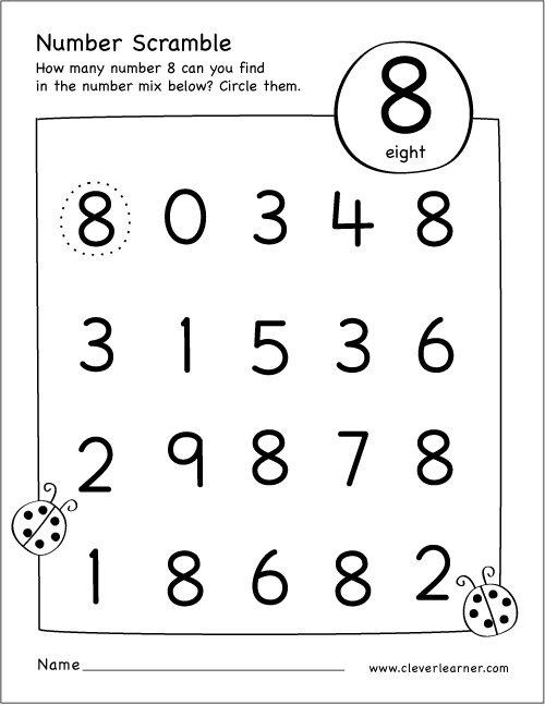 Number Scramble Activity Worksheet For Number 8 For Preschool Children